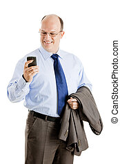 Business man - Middle-aged businessman sending a text...