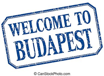 Budapest - welcome blue vintage isolated label