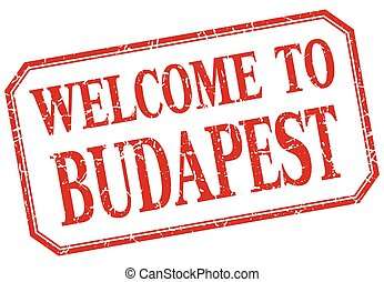 Budapest - welcome red vintage isolated label