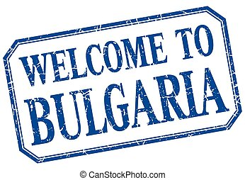 Bulgaria - welcome blue vintage isolated label