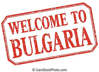 Bulgaria - welcome red vintage isolated label