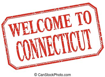 Connecticut - welcome red vintage isolated label