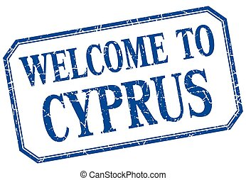 Cyprus - welcome blue vintage isolated label