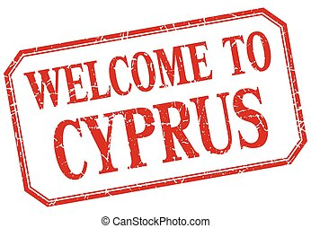 Cyprus - welcome red vintage isolated label