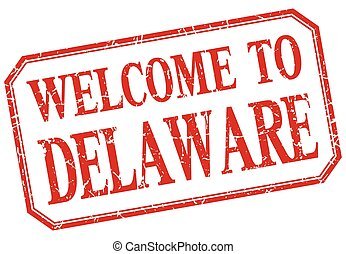 Delaware - welcome red vintage isolated label