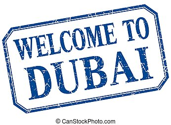 Dubai - welcome blue vintage isolated label