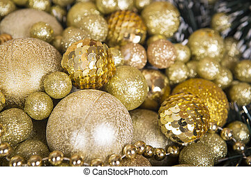 Christmas gold matte balls like a background. - Gold...