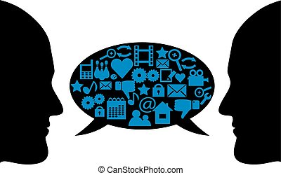 dialogue between two people - silhouettes of peoples faces...