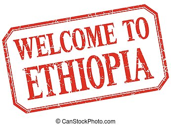 Ethiopia - welcome red vintage isolated label