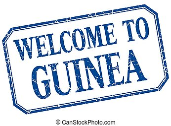 Guinea - welcome blue vintage isolated label