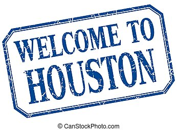 Houston - welcome blue vintage isolated label