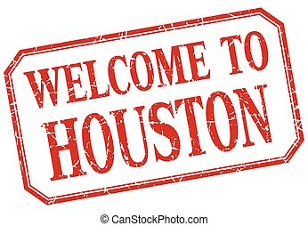 Houston - welcome red vintage isolated label