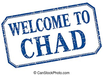 Chad - welcome blue vintage isolated label