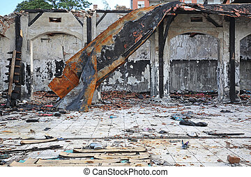 Fire Damage Building - Collapsed Roof Structure After Fire...