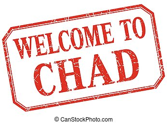Chad - welcome red vintage isolated label