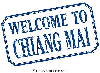 Chiang mai - welcome blue vintage isolated label