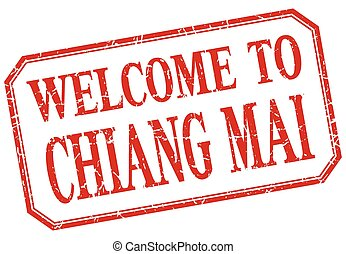 Chiang mai - welcome red vintage isolated label