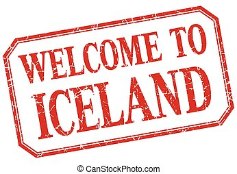 Iceland - welcome red vintage isolated label