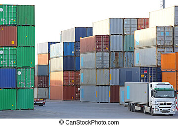 Container Port - Intermodal containers at cargo terminal...