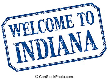 Indiana - welcome blue vintage isolated label