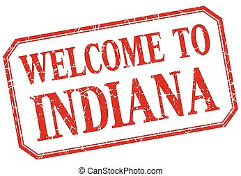 Indiana - welcome red vintage isolated label
