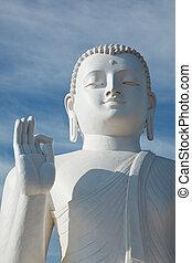 Sitting Budha image close up - White sitting Budha image...