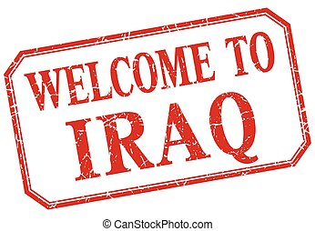 Iraq - welcome red vintage isolated label