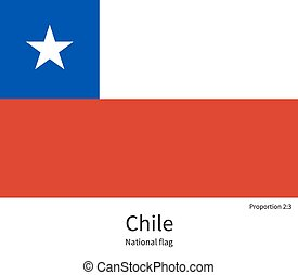 National flag of Chile with correct proportions, element,...