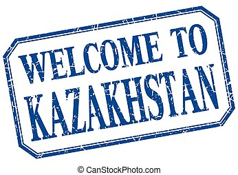 Kazakhstan - welcome blue vintage isolated label