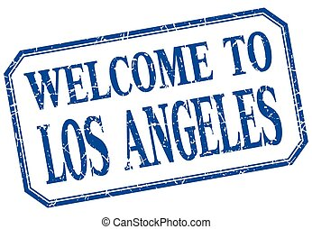 Los Angeles - welcome blue vintage isolated label