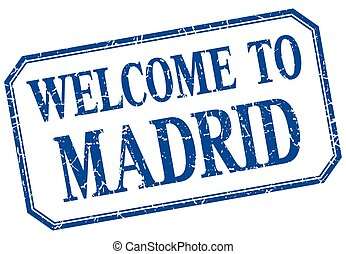 Madrid - welcome blue vintage isolated label