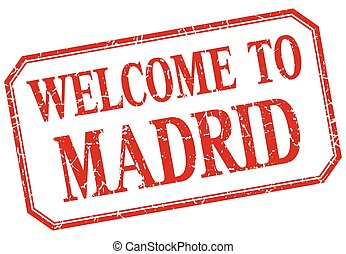 Madrid - welcome red vintage isolated label