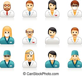 Medical staff avatars - user icons of doctors (physicians)...