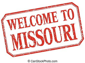 Missouri - welcome red vintage isolated label