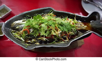 chinese food whole fish steam - Video of Chinese food style...