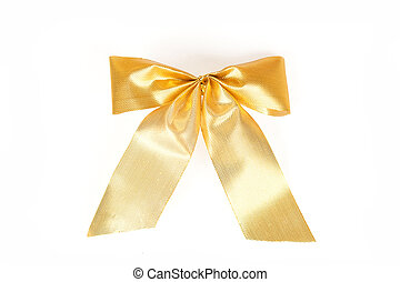 Brilliant gold bow - a Christmas ornamen. Yellow ribbon gift...