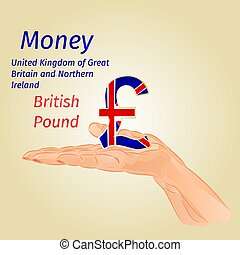 Money-The British Pound on palm vector.eps - Money- The...