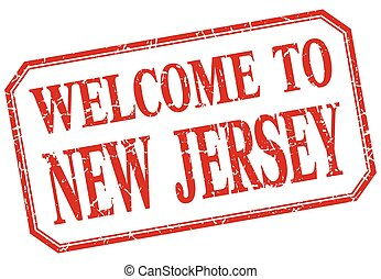 New Jersey - welcome red vintage isolated label