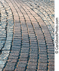 Foot path of paved curves, copy space