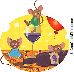 Hangover - Cute mice are having an after party hangover....