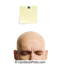 idea blank - head of the man and paper isolated on white...