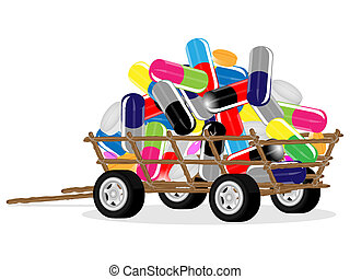 Tablets on a car - Collection of medical tablets and pills...