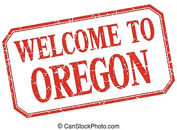 Oregon - welcome red vintage isolated label