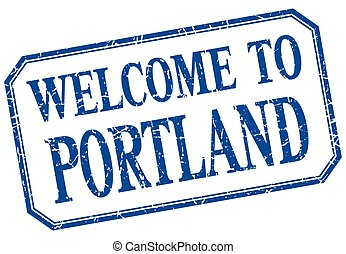Portland - welcome blue vintage isolated label