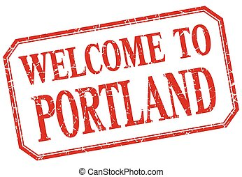 Portland - welcome red vintage isolated label
