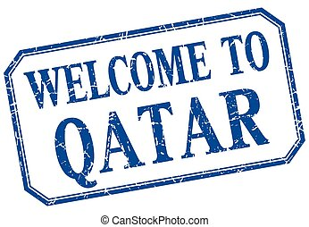 Qatar - welcome blue vintage isolated label