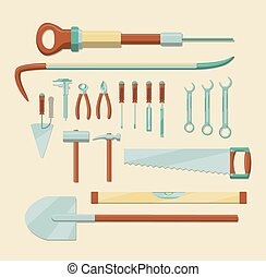 Work tools set - Set of hand tools. EPS10 vector image,...