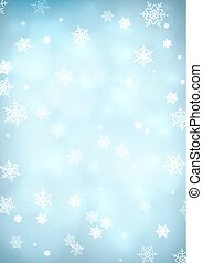 Blue snow background - Blurry snow background with bokeh...