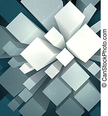 Mess of cubes - Abstract dark geometric background with mess...