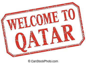 Qatar - welcome red vintage isolated label